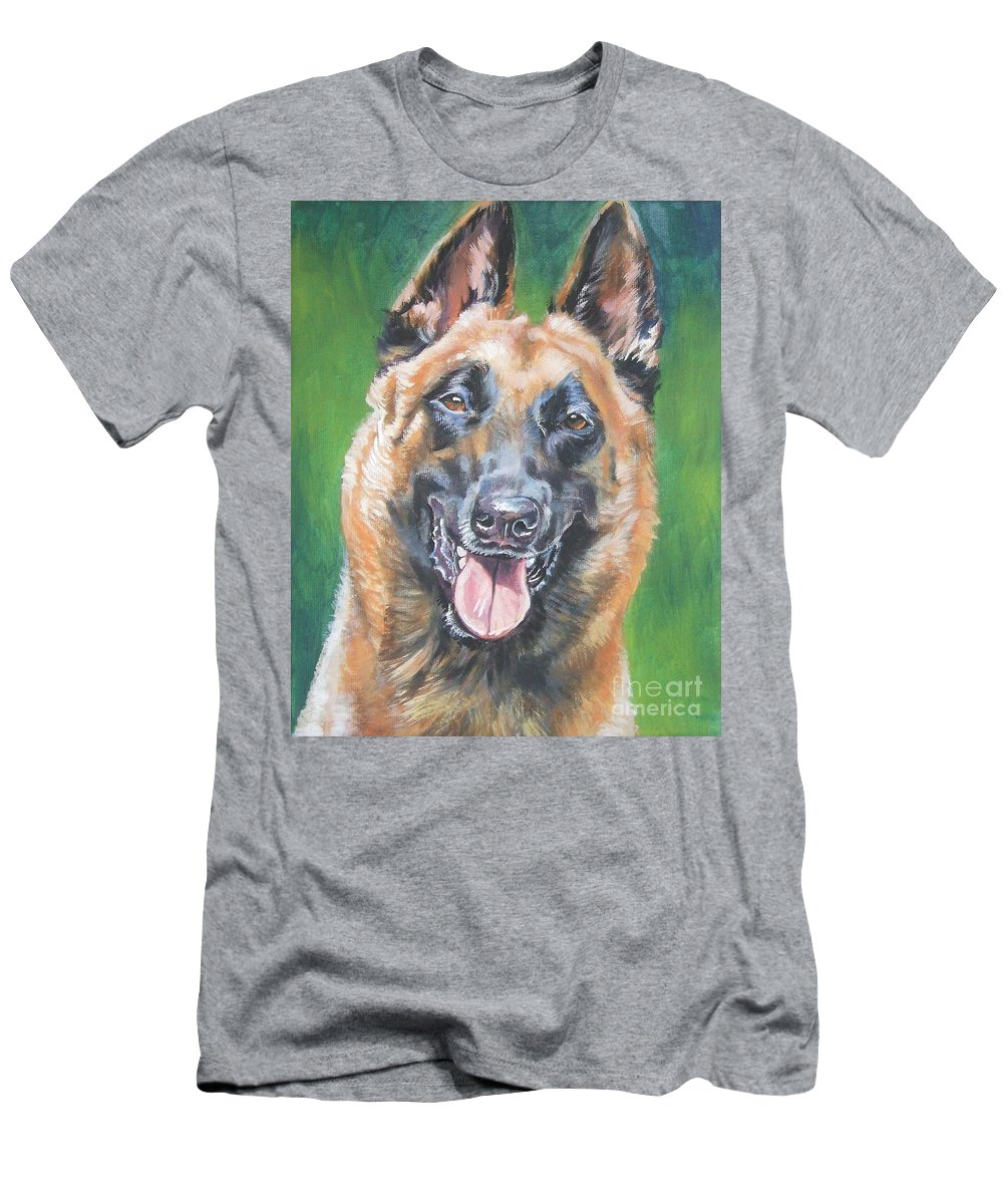 Belgian Malinois Men's T-Shirt (Athletic Fit) featuring the painting Belgian Malinois Smile by Lee Ann Shepard