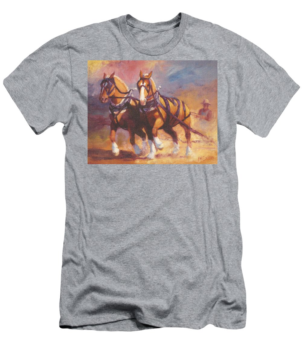 Horse Men's T-Shirt (Athletic Fit) featuring the painting Belgian Team Pulling Horses Painting by Kim Corpany