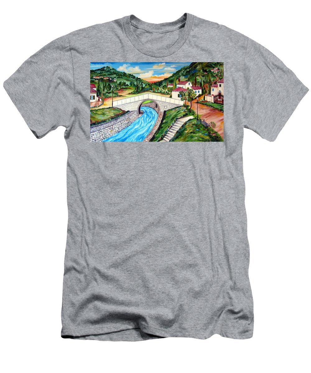 Bridge Men's T-Shirt (Athletic Fit) featuring the painting Beli Most Vranje Serbia by Roberto Gagliardi