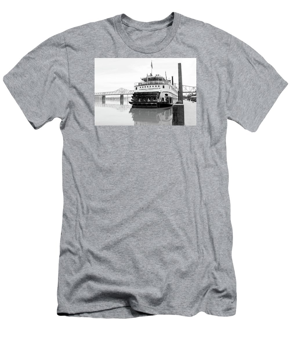 Louisville Men's T-Shirt (Athletic Fit) featuring the photograph Belle Of Louisville Docked by Art Block Collections