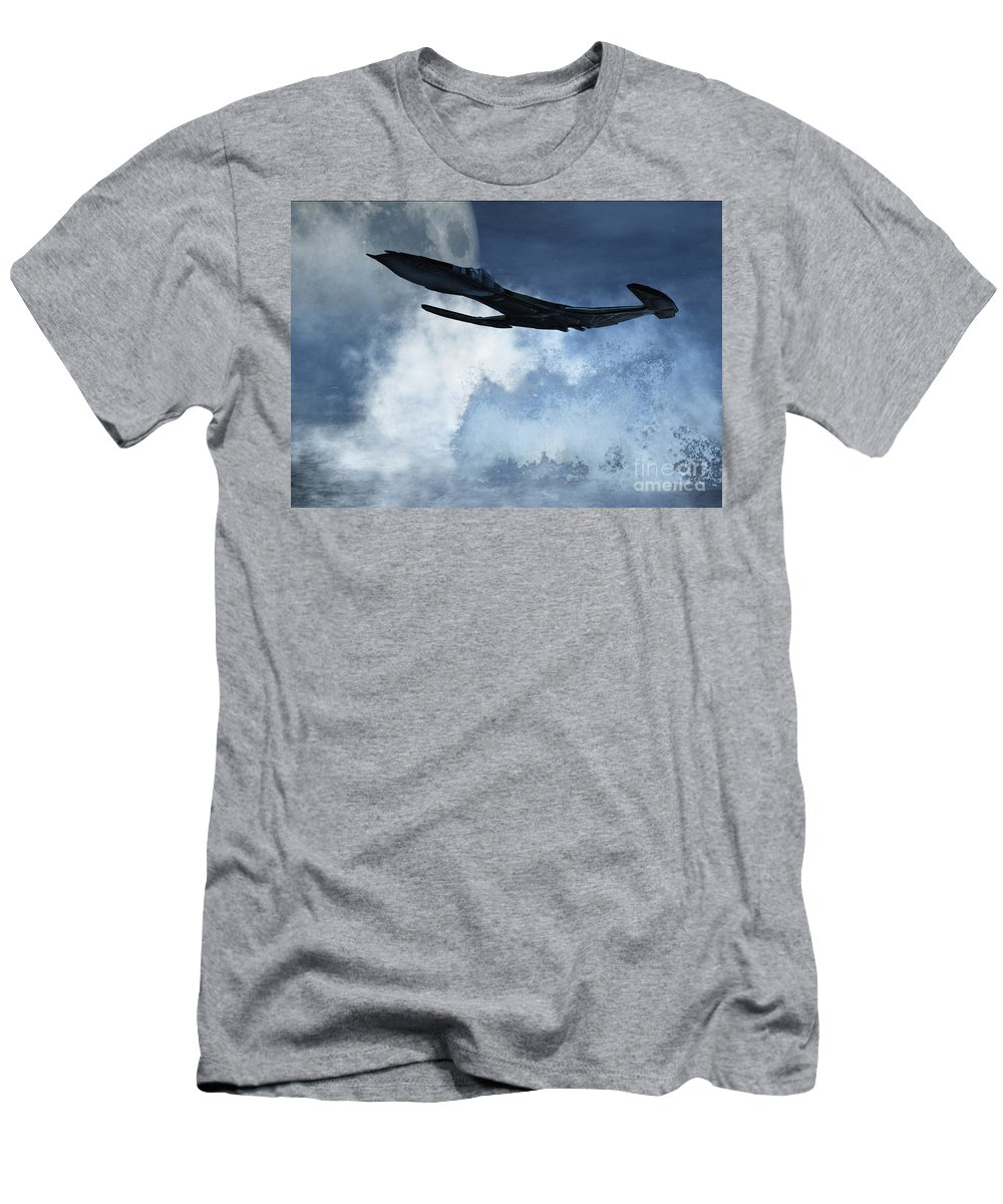 Flight Men's T-Shirt (Athletic Fit) featuring the digital art Below Radar by Richard Rizzo