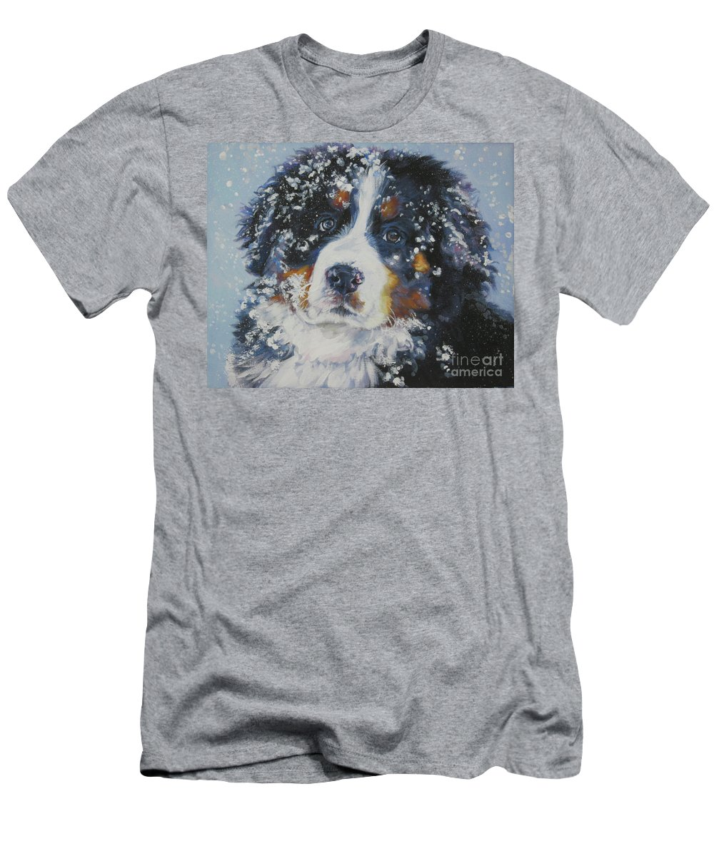 Bernese Mountain Dog Men's T-Shirt (Athletic Fit) featuring the painting Bernese Mountain Dog Puppy by Lee Ann Shepard