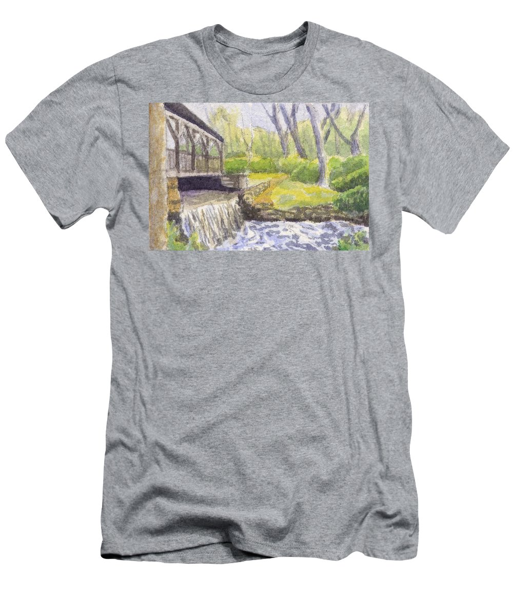 Moore State Park Men's T-Shirt (Athletic Fit) featuring the painting Beside The Dam by Sharon E Allen