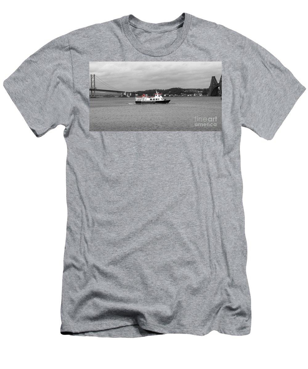 Two Bridges Men's T-Shirt (Athletic Fit) featuring the photograph Between Two Bridges. by Elena Perelman