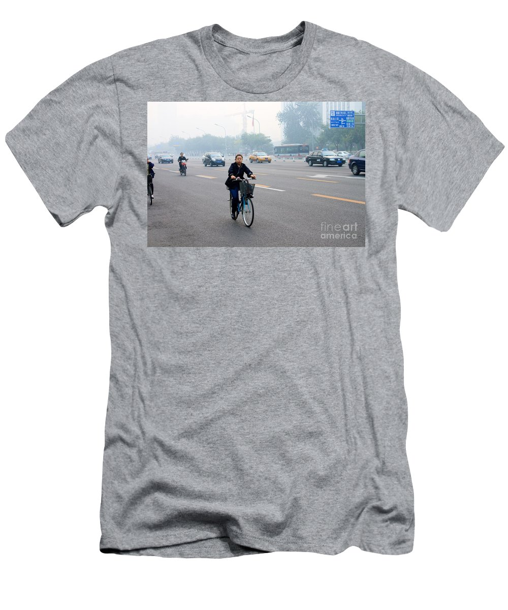 Bicycle Men's T-Shirt (Athletic Fit) featuring the photograph Bicyclist In Beijing by Thomas Marchessault