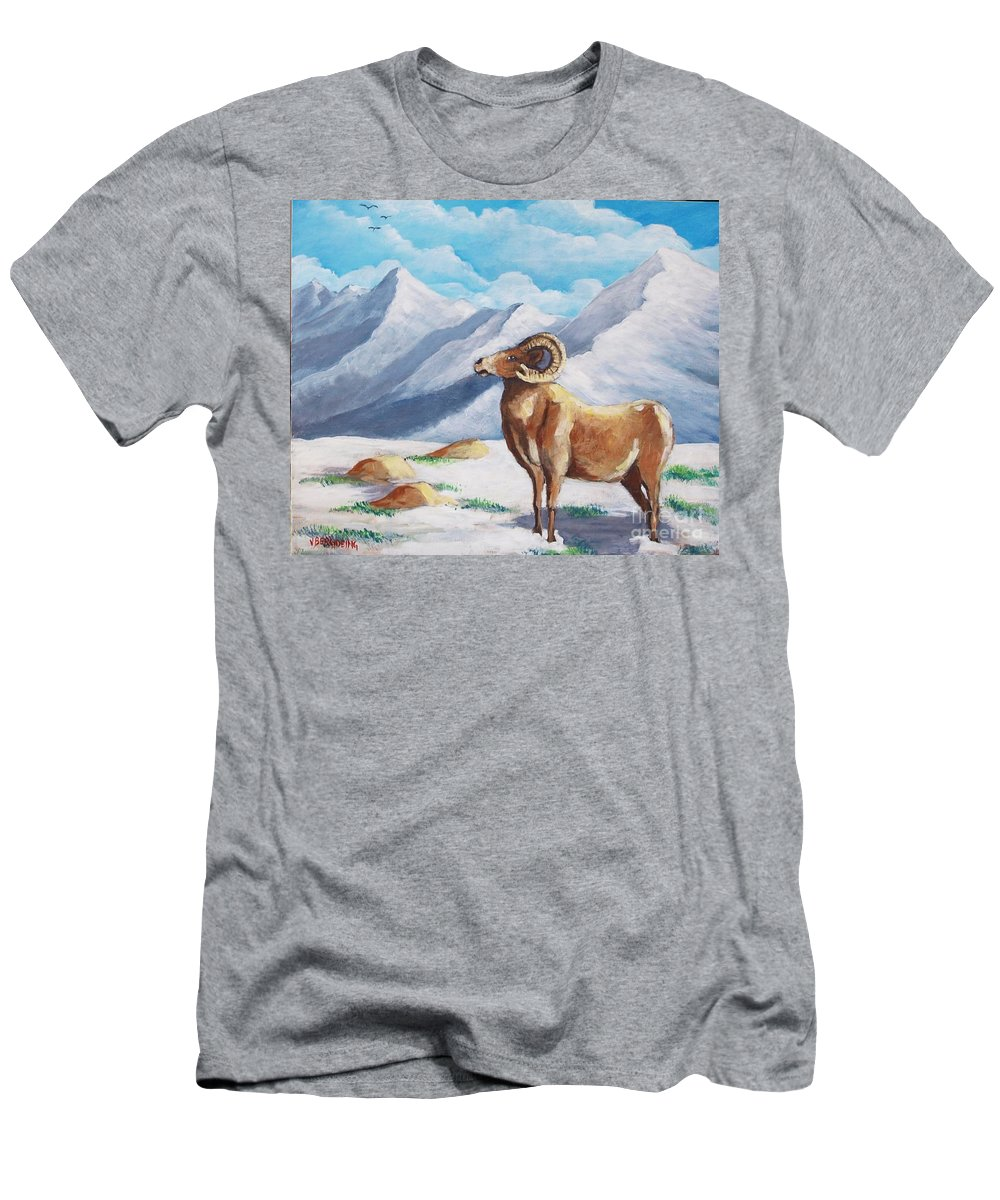 Bighorn Men's T-Shirt (Athletic Fit) featuring the painting Bighorn Kam by Jean Pierre Bergoeing