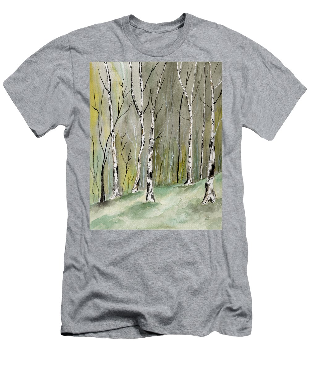 Landscape Men's T-Shirt (Athletic Fit) featuring the painting Birches Before Spring by Brenda Owen