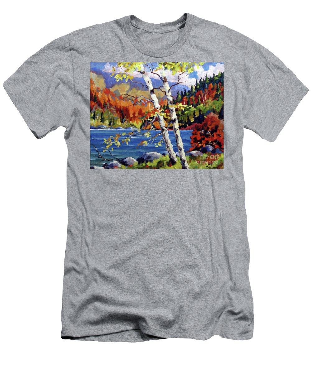 Art Men's T-Shirt (Athletic Fit) featuring the painting Birches By The Lake by Richard T Pranke
