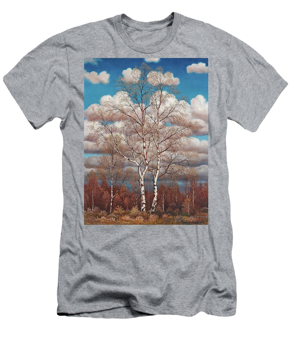 Oskar Bergman Men's T-Shirt (Athletic Fit) featuring the painting Birches In The Spring by MotionAge Designs