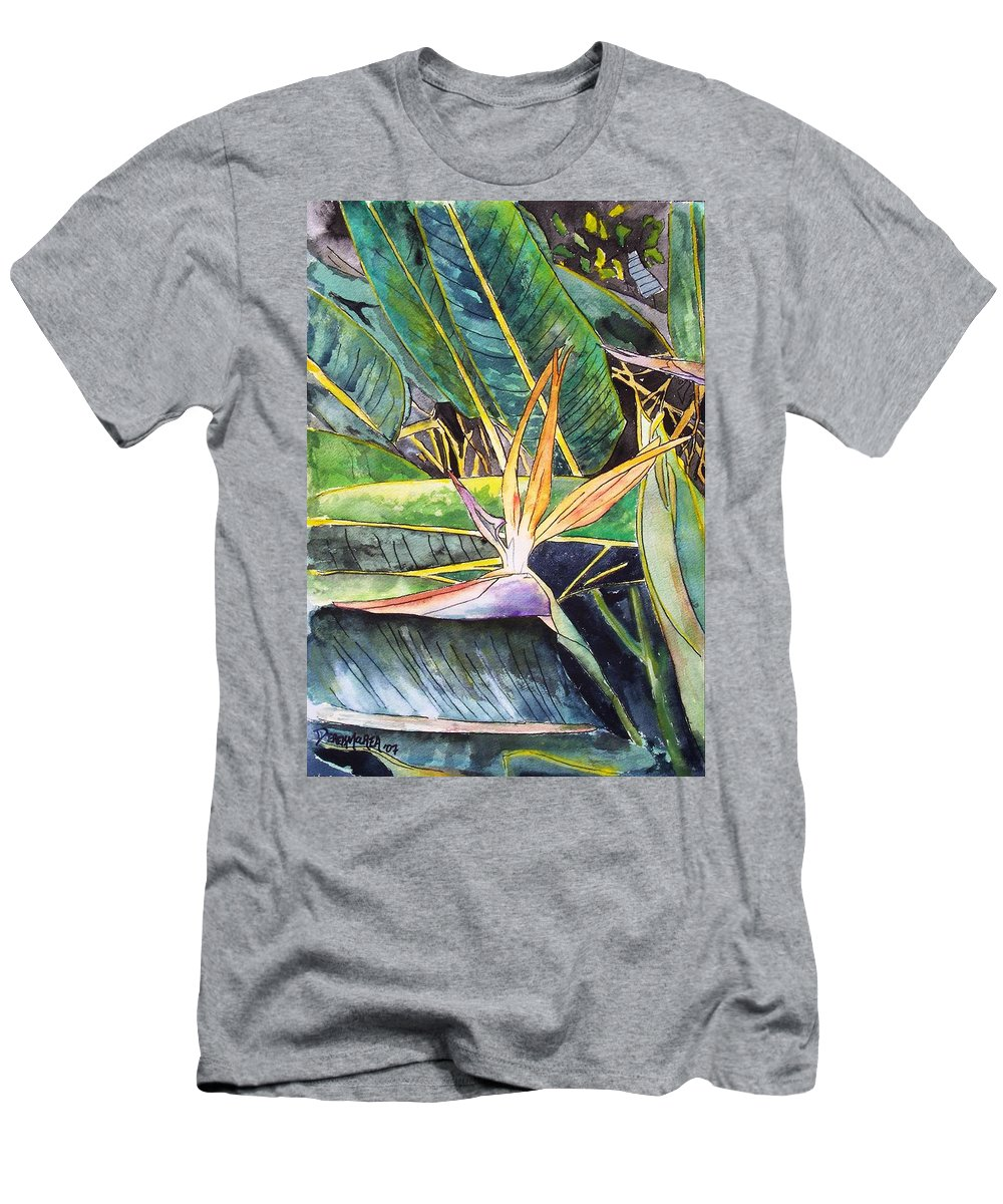 Watercolor Men's T-Shirt (Athletic Fit) featuring the painting Bird Of Paradise by Derek Mccrea