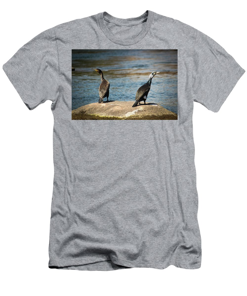 Men's T-Shirt (Athletic Fit) featuring the painting Birds And Lake by Shady Magdy