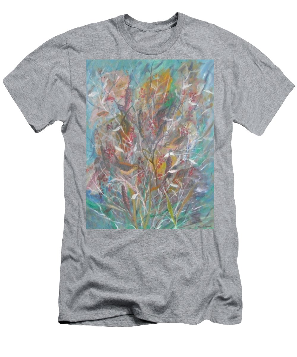 Birds Men's T-Shirt (Athletic Fit) featuring the painting Birds In A Bush by Ben Kiger