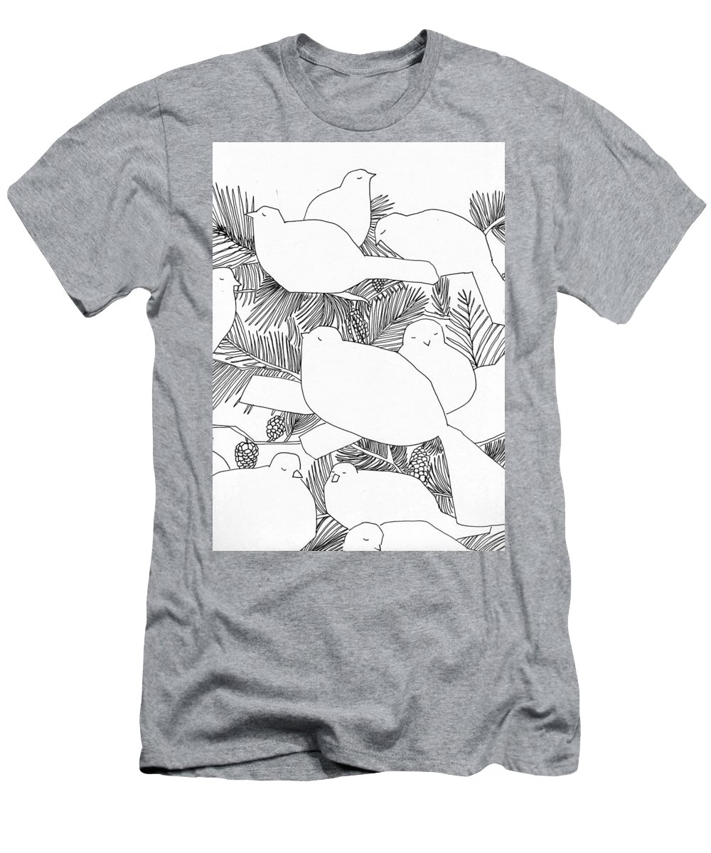 Birds Men's T-Shirt (Athletic Fit) featuring the drawing Birds In Pine by Jean Stark