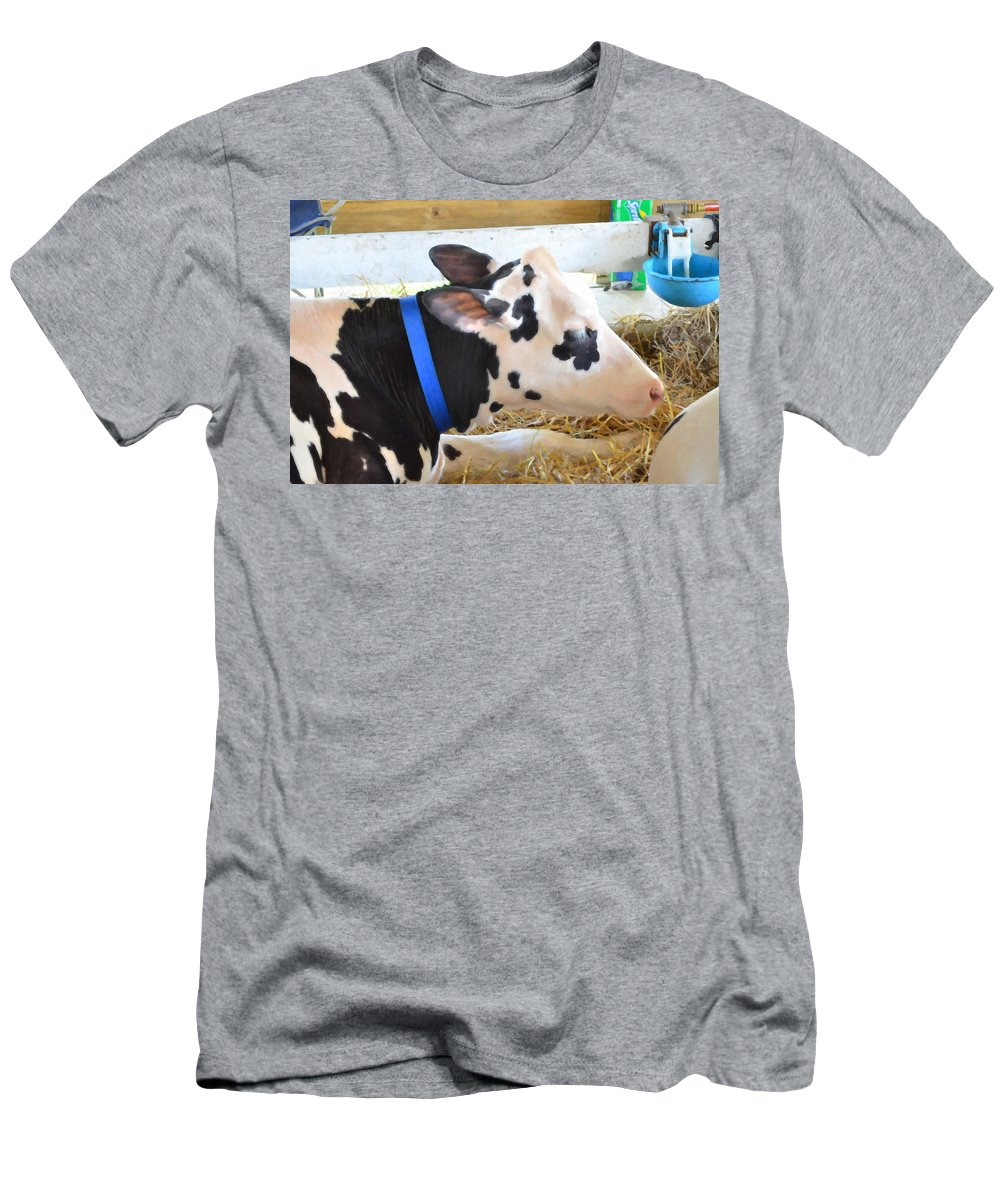Black And White Cow Men's T-Shirt (Athletic Fit) featuring the painting Black And White Cow 2 by Jeelan Clark