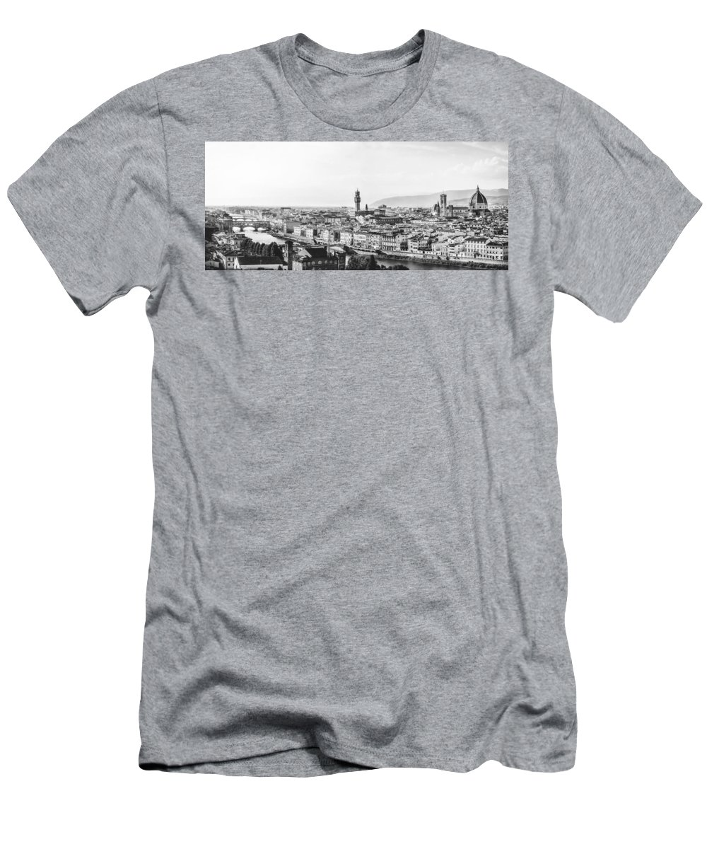 Buildings Men's T-Shirt (Athletic Fit) featuring the photograph Black And White Florence Italy by Artpics
