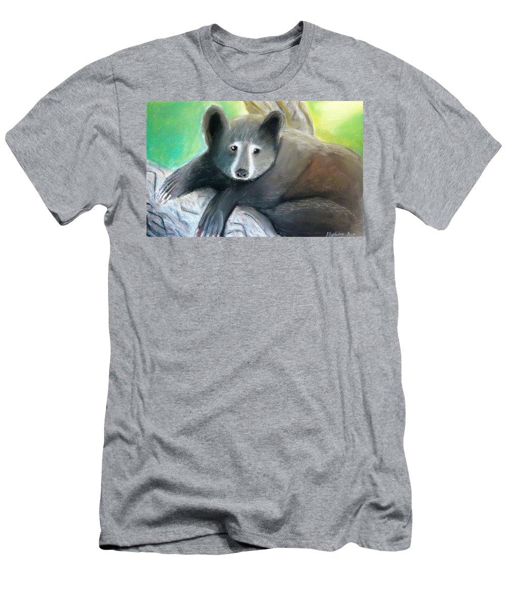 Black Bear Men's T-Shirt (Athletic Fit) featuring the pastel Black Bear by Alexandra Herr