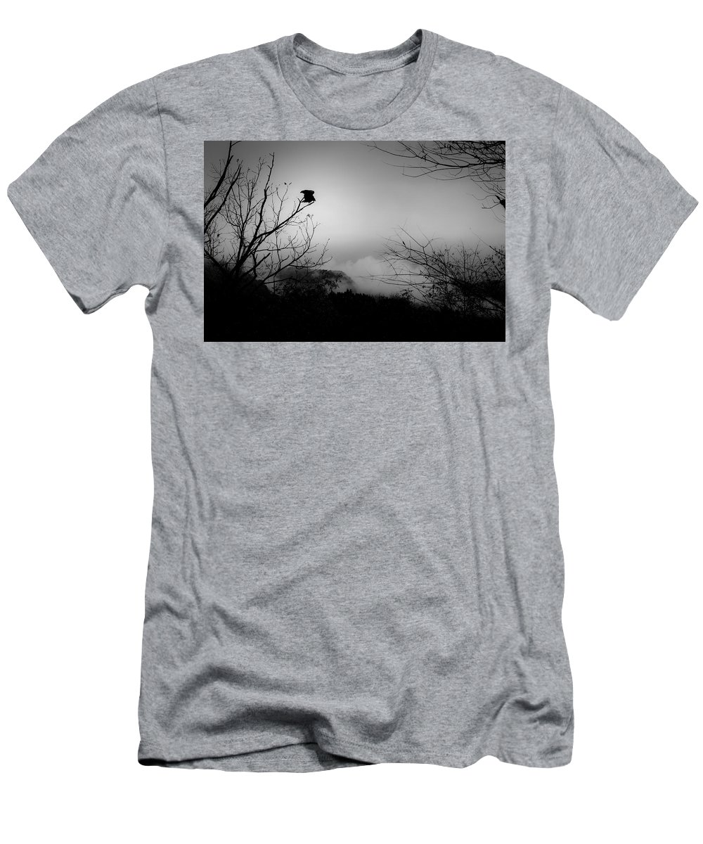 Black Men's T-Shirt (Athletic Fit) featuring the photograph Black Buzzard 8 by Teresa Mucha