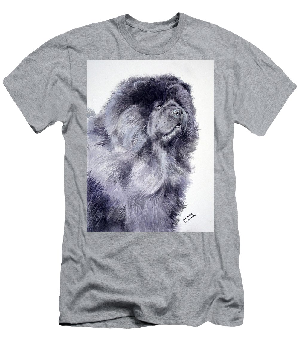 Dog Men's T-Shirt (Athletic Fit) featuring the painting Black Chow Chow by Christopher Shellhammer