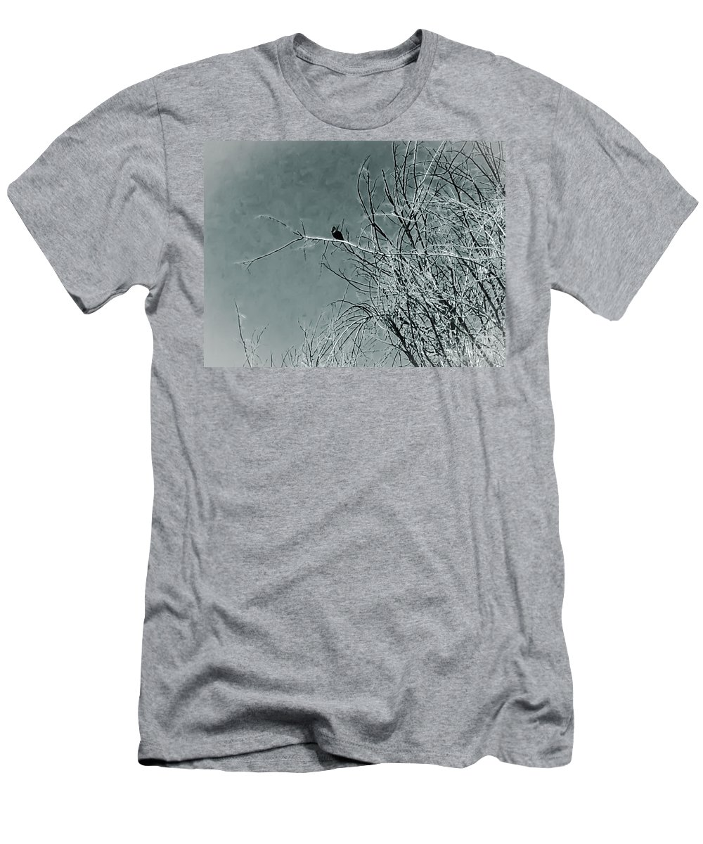 Black Men's T-Shirt (Athletic Fit) featuring the photograph Black Crow White Snow by Heather Joyce Morrill