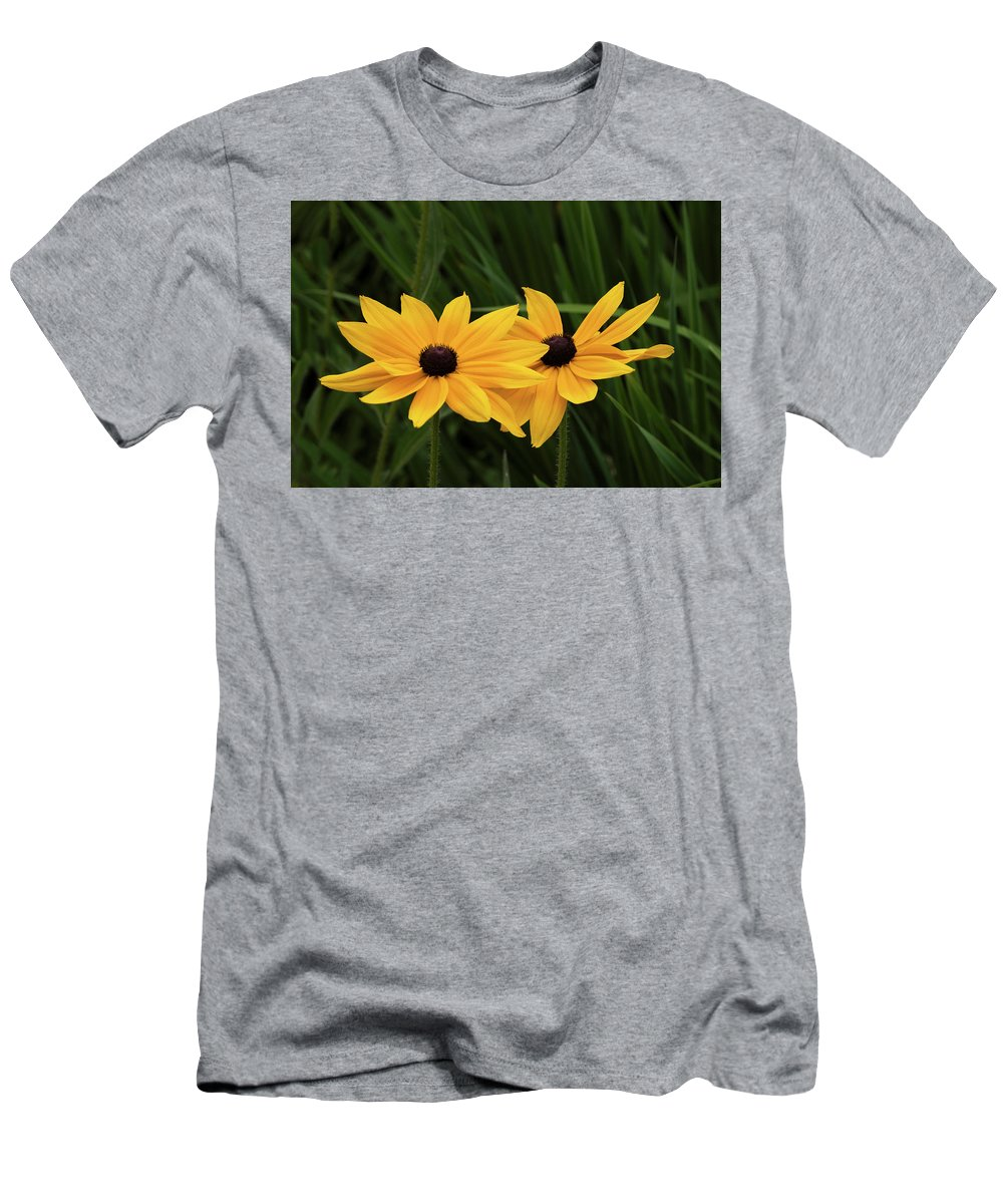 Black-eyed Susans Men's T-Shirt (Athletic Fit) featuring the photograph Black-eyed Susan Blossoms by David Lunde