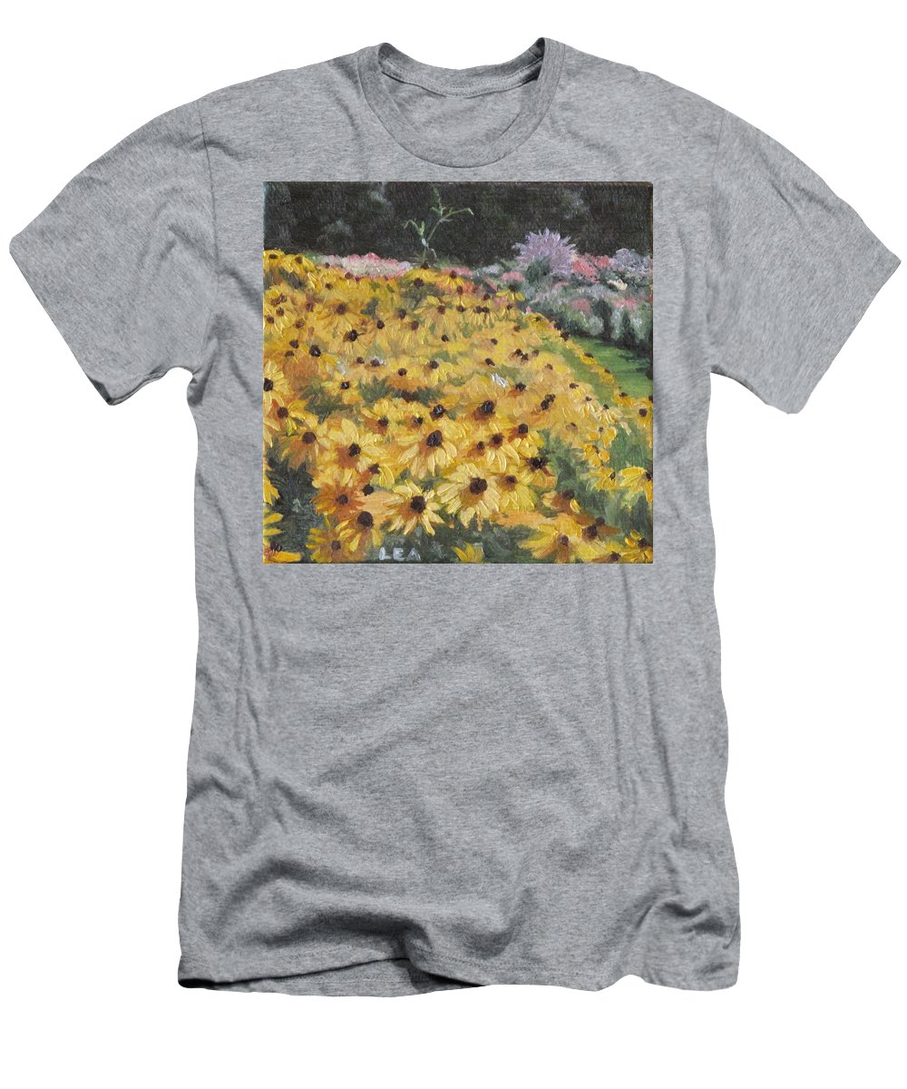 Floral Men's T-Shirt (Athletic Fit) featuring the painting Black-eyed Susans by Lea Novak