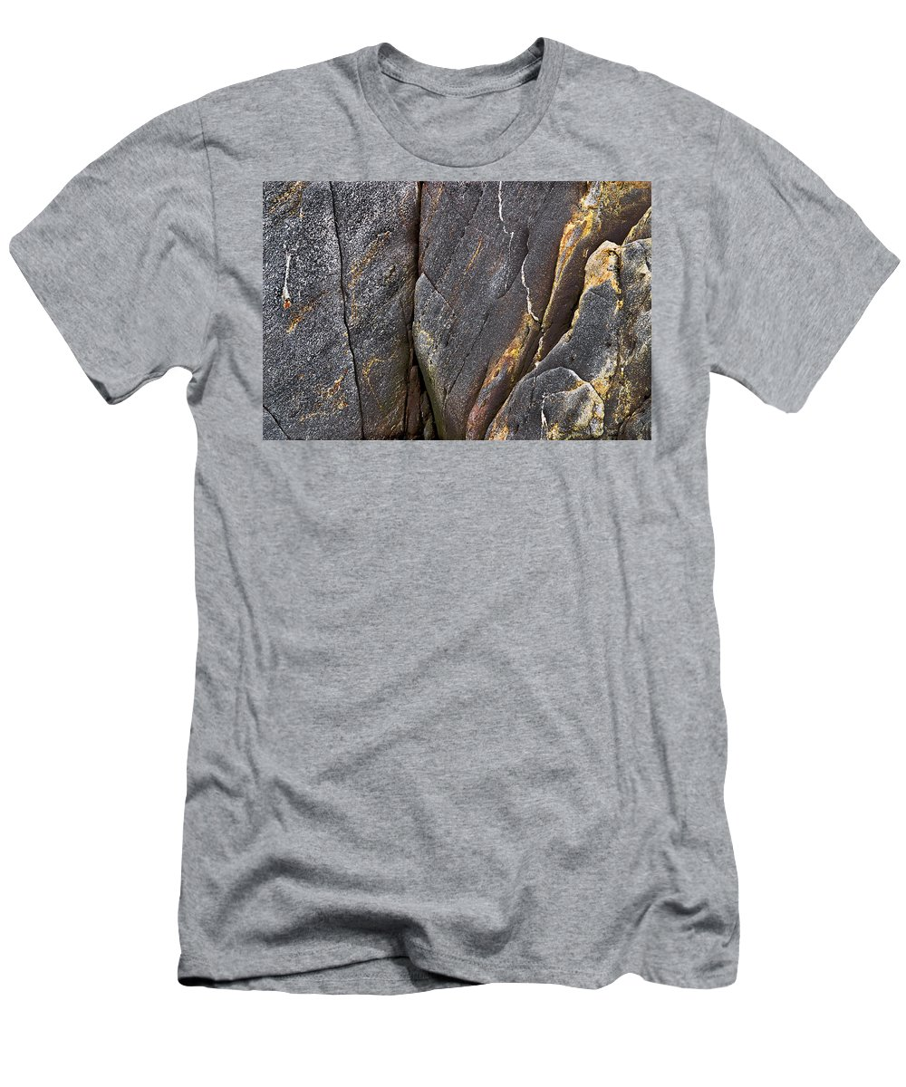 Rock Men's T-Shirt (Athletic Fit) featuring the photograph Black Granite Abstract Two by Peter J Sucy