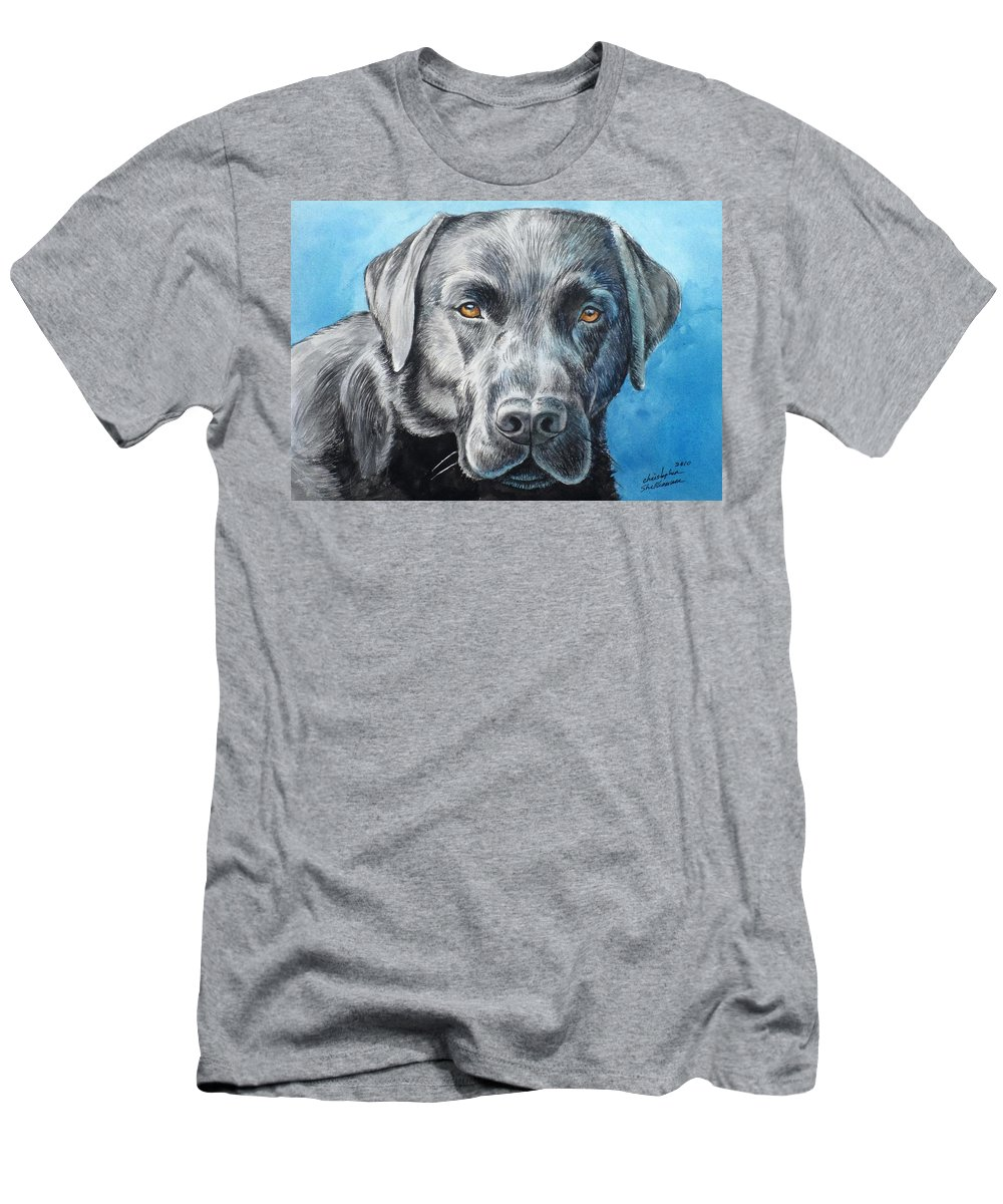 Dog Men's T-Shirt (Athletic Fit) featuring the painting Black Lab by Christopher Shellhammer
