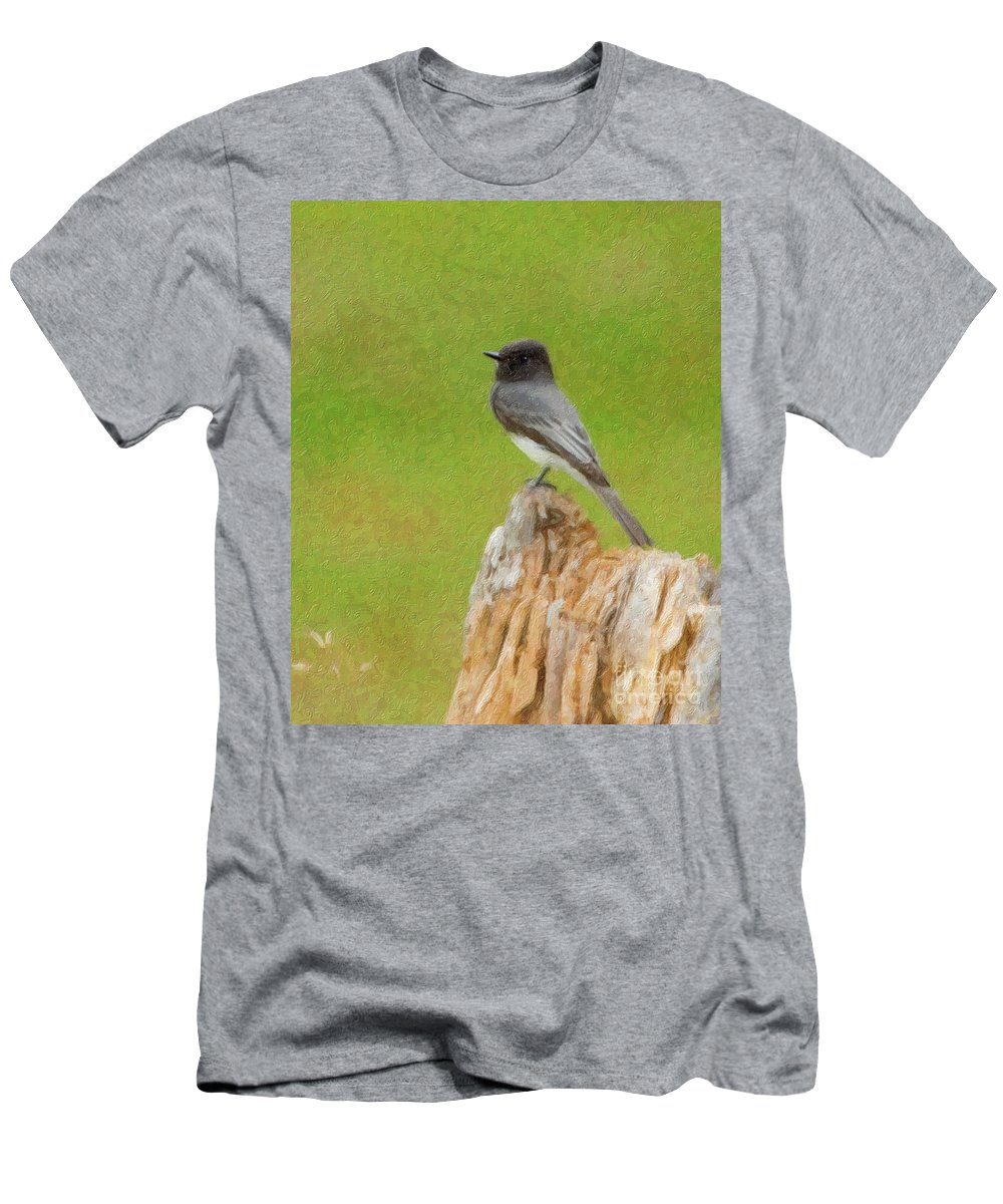 Black Phoebe Men's T-Shirt (Athletic Fit) featuring the photograph Black Phoebe by Betty LaRue