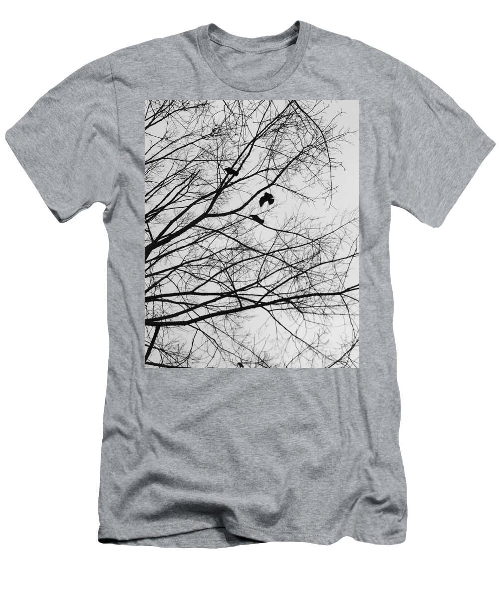 Crows Men's T-Shirt (Athletic Fit) featuring the photograph Blackened Birds by Savanah Schafer