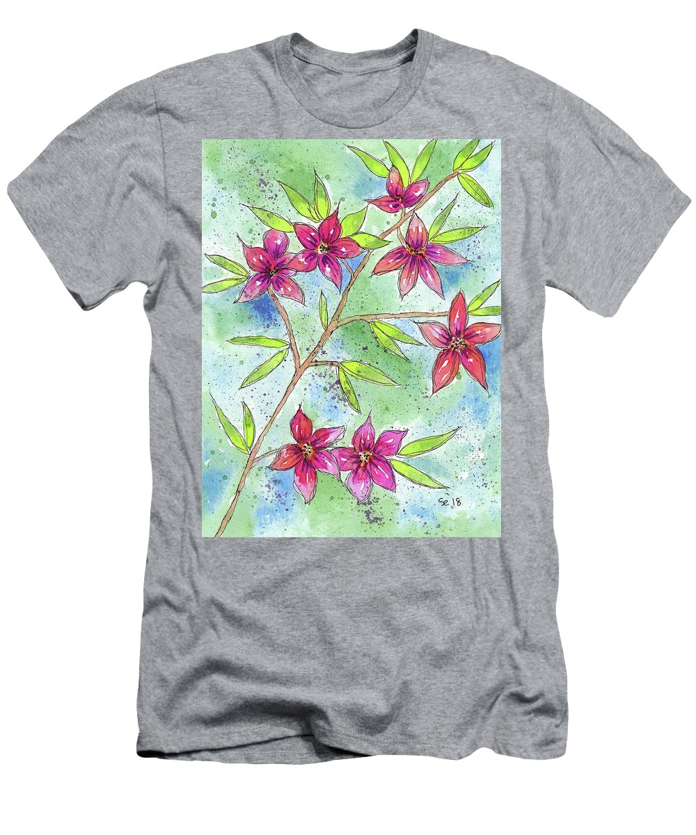 Watercolor And Ink Men's T-Shirt (Athletic Fit) featuring the painting Blooming Flowers by Susan Campbell