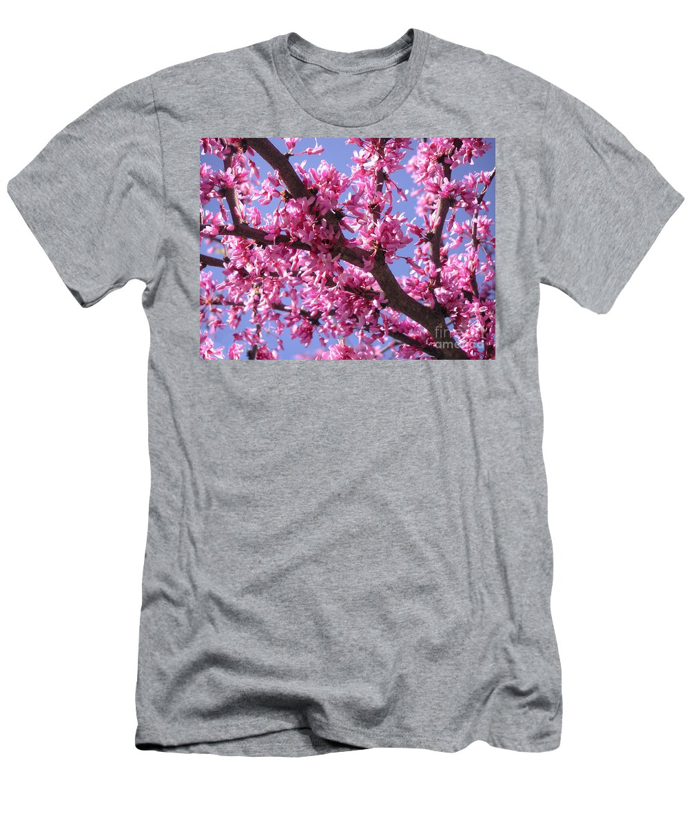 Nature Men's T-Shirt (Athletic Fit) featuring the photograph Blooming Red Buds by Lucyna A M Green