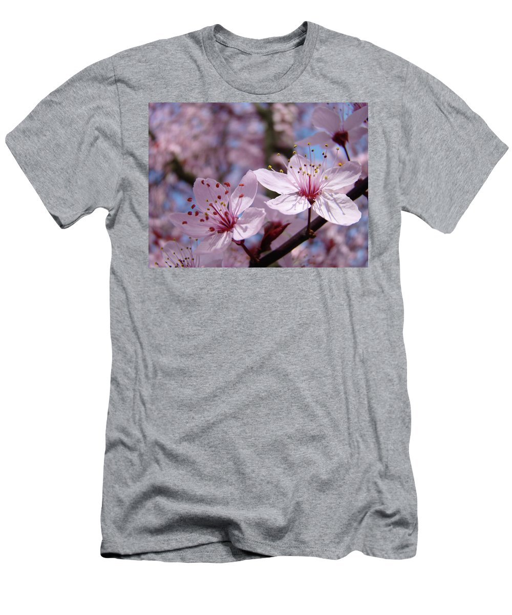 Blossom Men's T-Shirt (Athletic Fit) featuring the photograph Blossoms Art Prints Pink Spring Tree Blossoms Canvas Baslee Troutman by Baslee Troutman