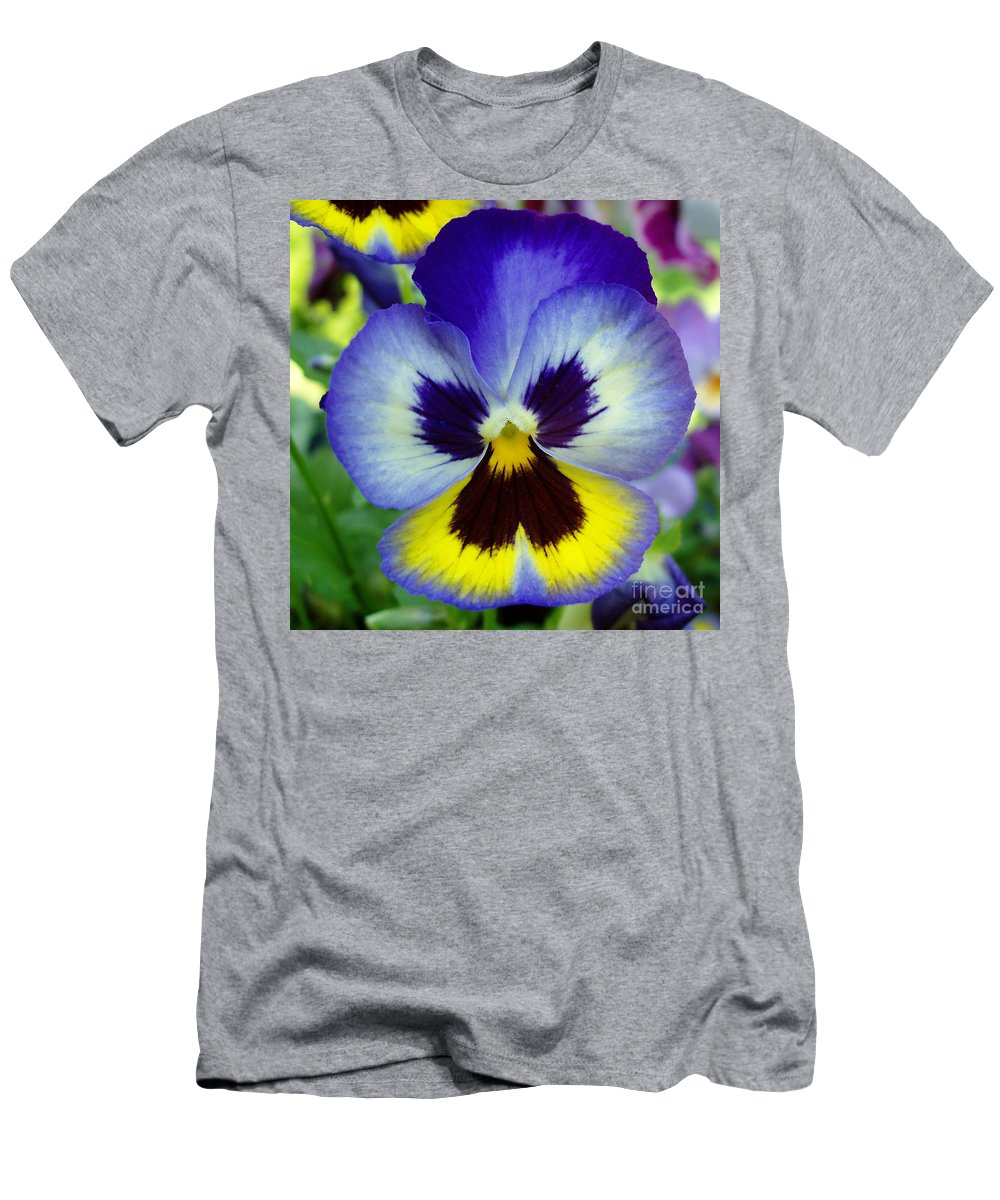 Flowers Men's T-Shirt (Athletic Fit) featuring the photograph Blue And Yellow Pansy by Nancy Mueller