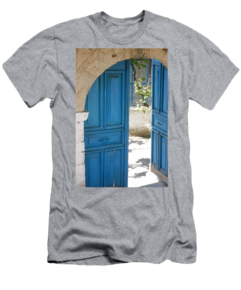 Architecture Men's T-Shirt (Athletic Fit) featuring the photograph Blue Door by Stacey Lanning