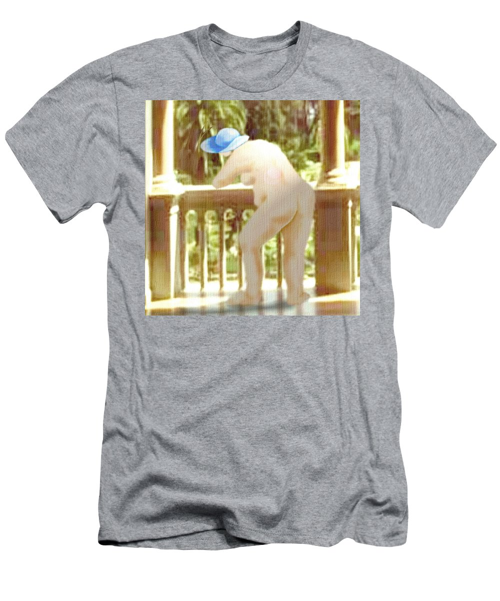 Woman Blue Hat Morning Nature Balcony Men's T-Shirt (Athletic Fit) featuring the digital art Blue Hat by Veronica Jackson