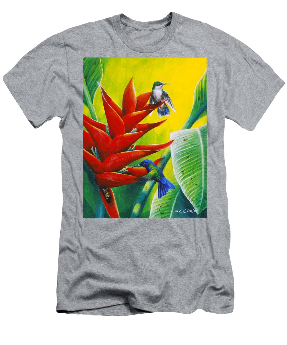 Chris Cox Men's T-Shirt (Athletic Fit) featuring the painting Blue-headed Hummingbirds And Heliconia by Christopher Cox