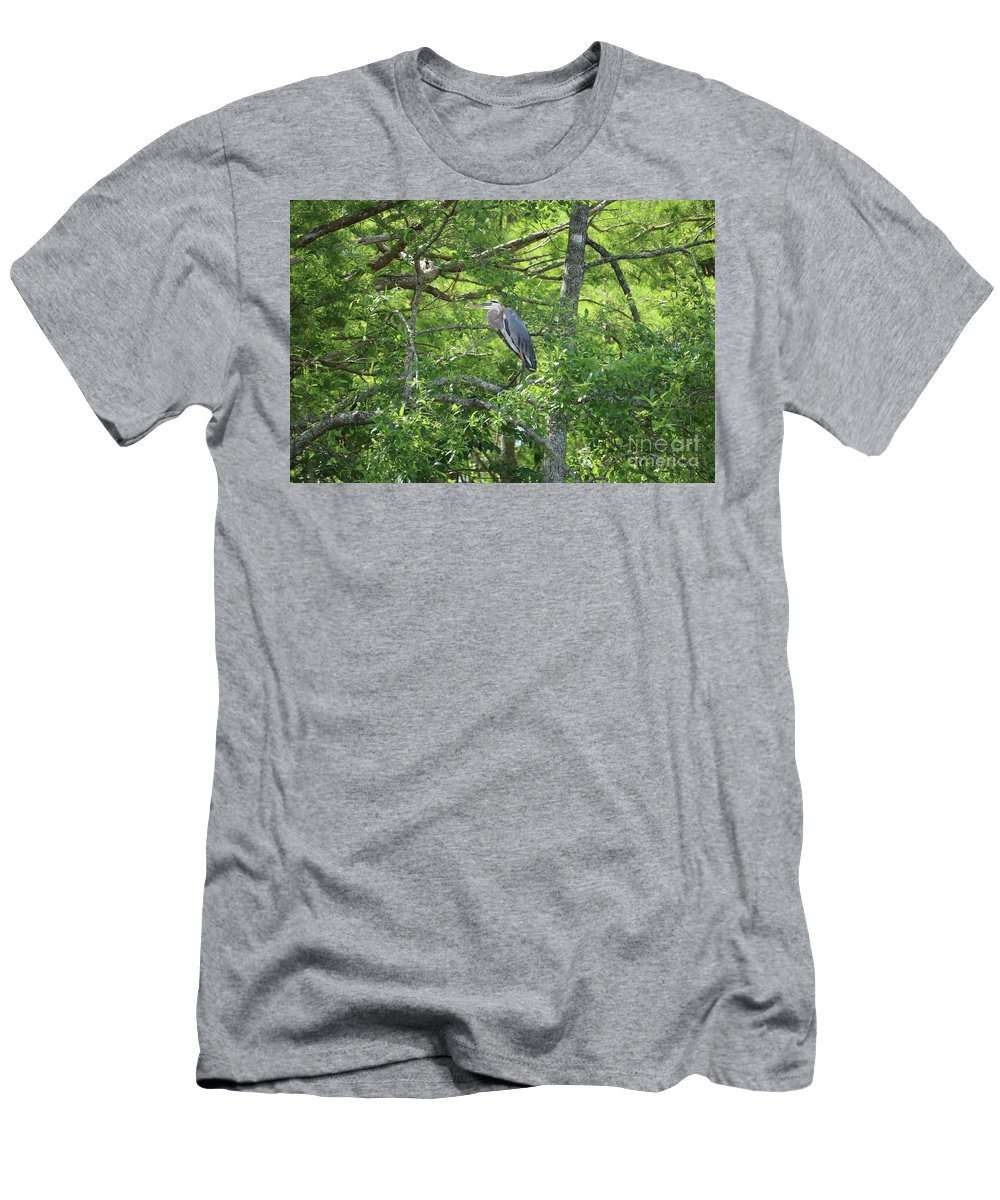 Great Blue Heron Men's T-Shirt (Athletic Fit) featuring the photograph Blue Heron In Green Tree by Carol Groenen