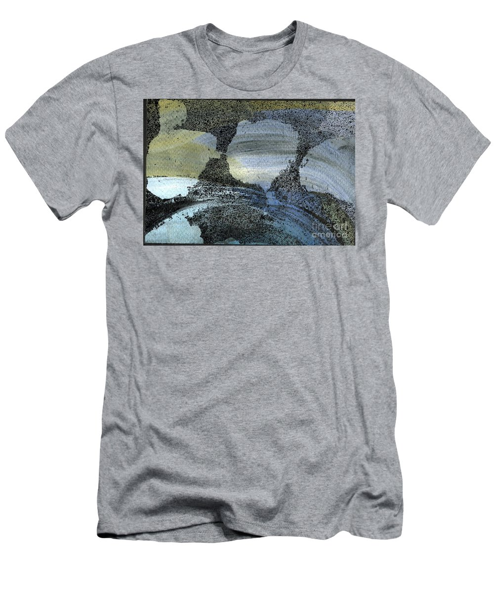 Blue Ice Pond 2 - Original Wax Encaustic Painting - Abstract Painting - Elizabethafox - Small Painting Men's T-Shirt (Athletic Fit) featuring the painting Blue Ice Pond 2 by Elizabetha Fox