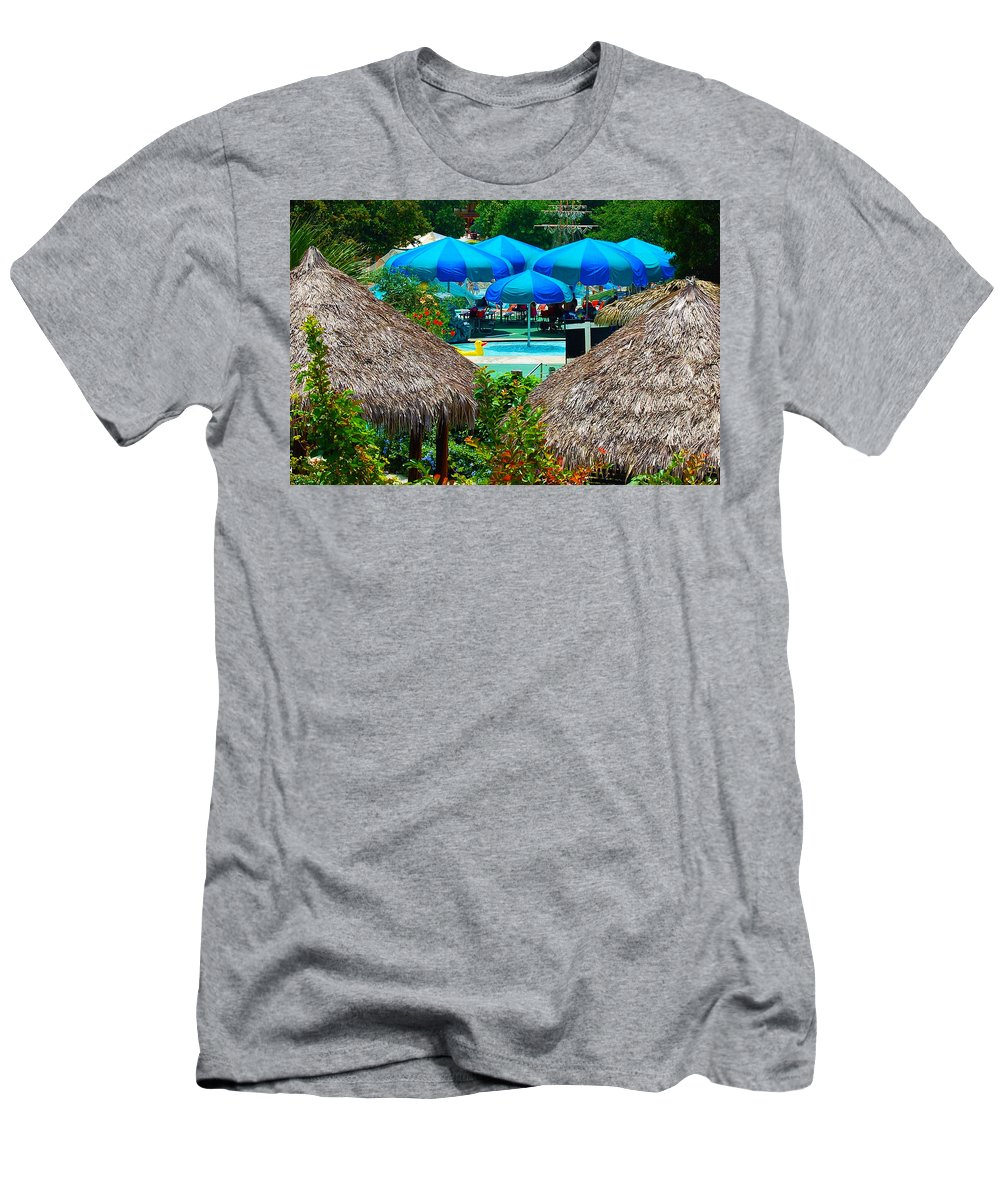 Swimming Pool Men's T-Shirt (Athletic Fit) featuring the photograph Blue Pool Umbrellas by Cheryl Alkire