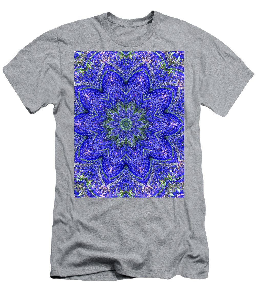 Kaleidoscope Men's T-Shirt (Athletic Fit) featuring the photograph Blue Purple Lavender Floral Kaleidoscope Wall Art Print by Carol F Austin
