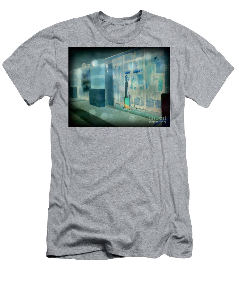 Post Processed Men's T-Shirt (Athletic Fit) featuring the photograph Blue Shopper by Paulette B Wright
