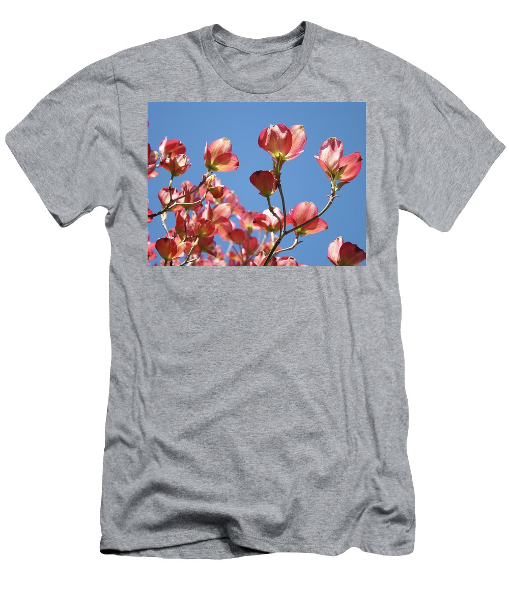 Dogwood Men's T-Shirt (Athletic Fit) featuring the photograph Blue Sky Art Prints Pink Dogwood Flowers 16 Dogwood Tree Art Prints Baslee Troutman by Baslee Troutman