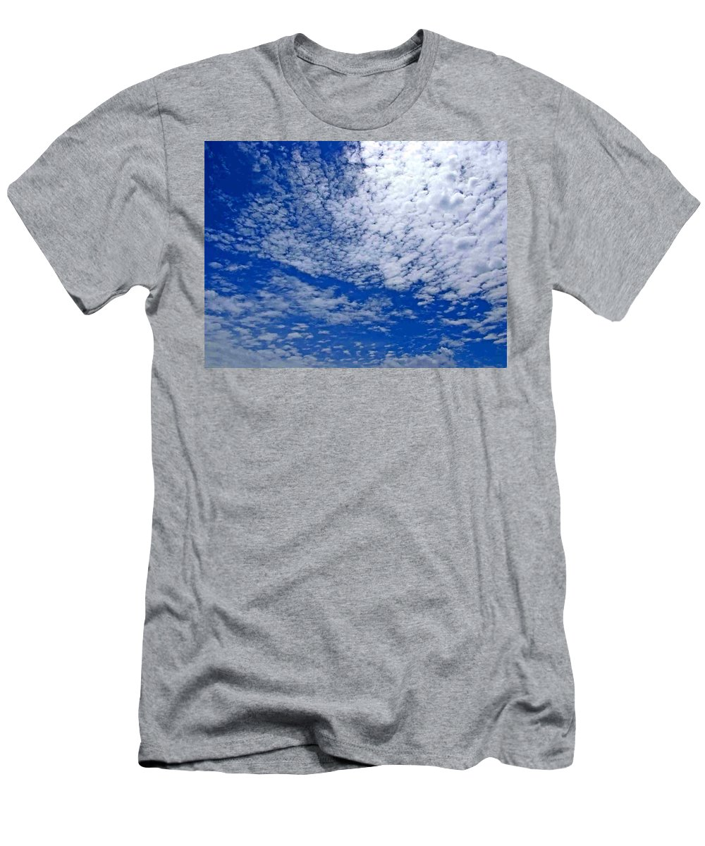 Sky Men's T-Shirt (Athletic Fit) featuring the photograph Blue Sky With Clouds by Dragica Micki Fortuna