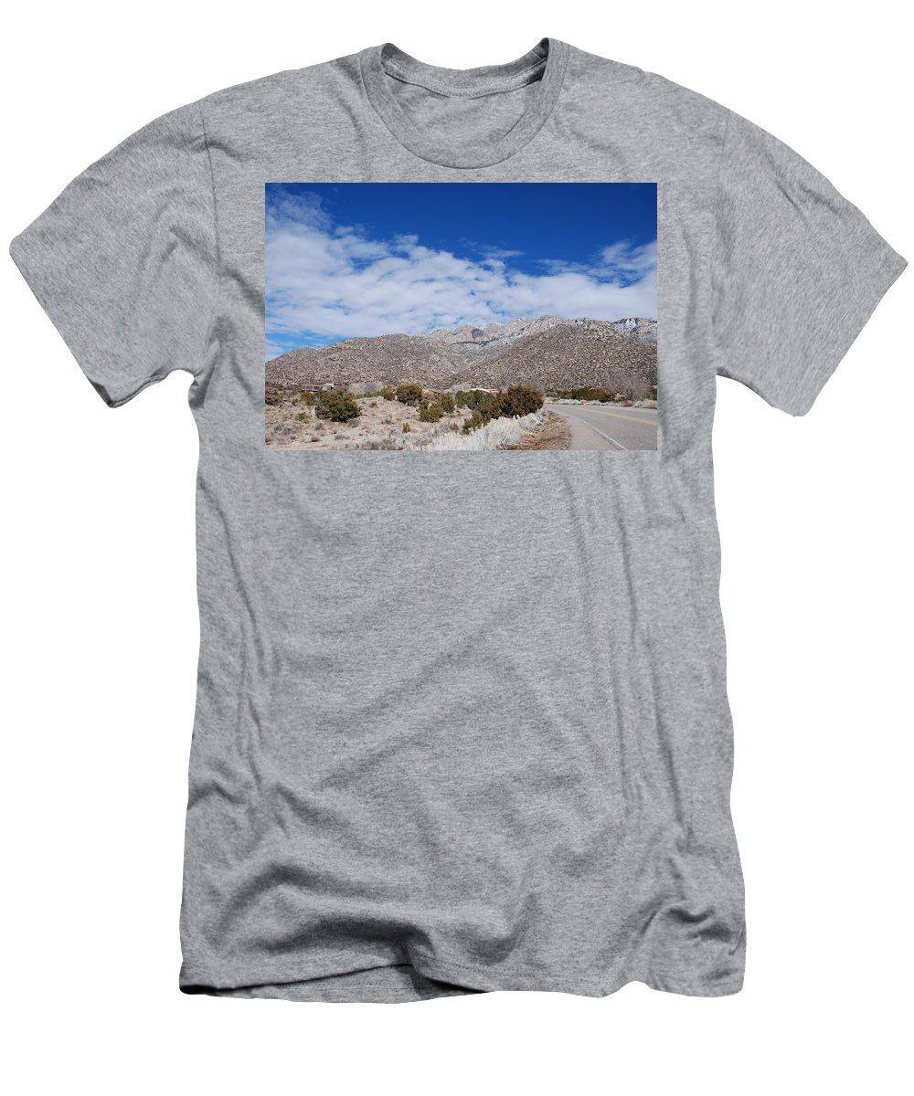 Sandia Mountains Men's T-Shirt (Athletic Fit) featuring the photograph Blue Skys Over The Sandias by Rob Hans
