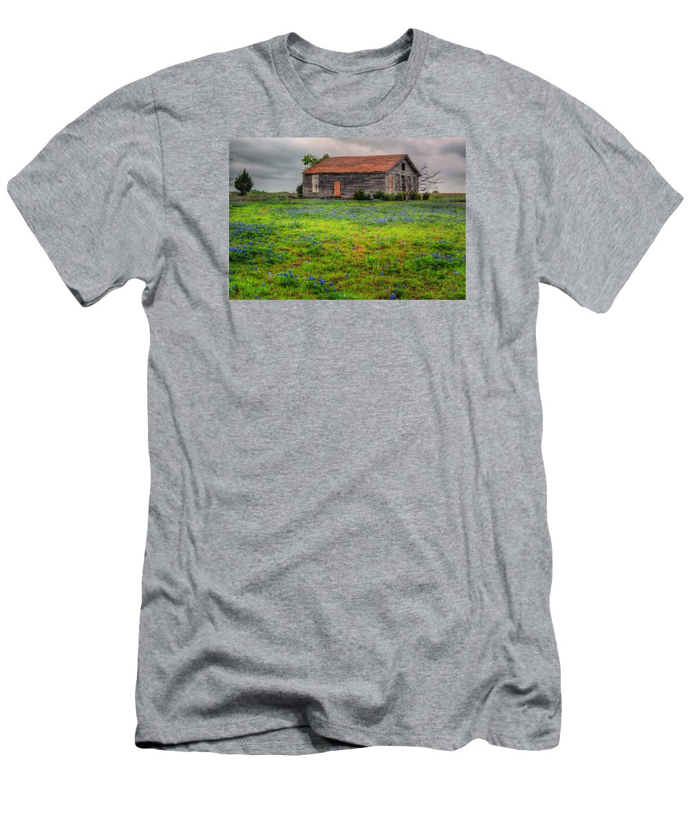 Bluebonnet Men's T-Shirt (Athletic Fit) featuring the photograph Bluebonnets And Abandoned Farm House by David and Carol Kelly
