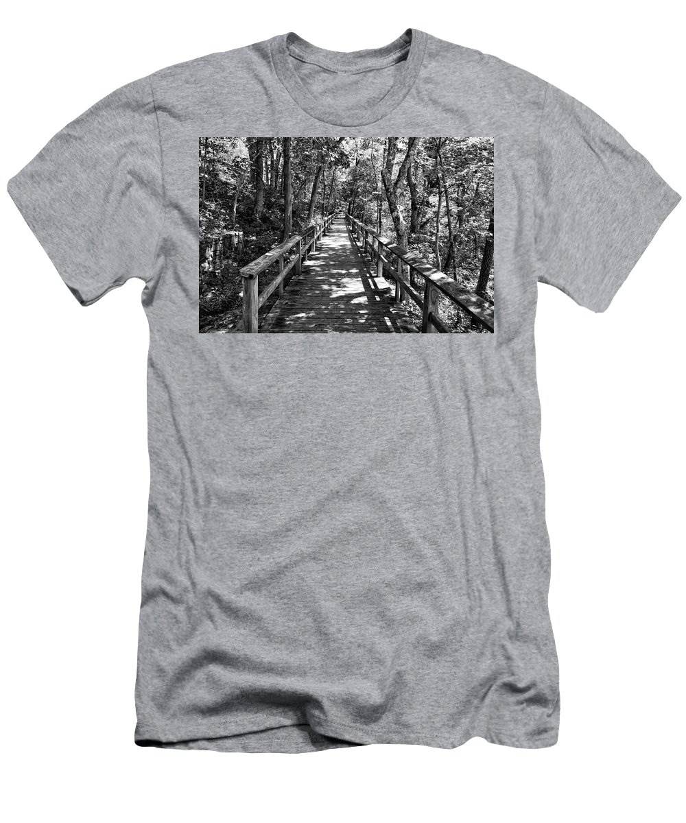 Wood Board Walk Men's T-Shirt (Athletic Fit) featuring the photograph Boardwalk B by John Myers