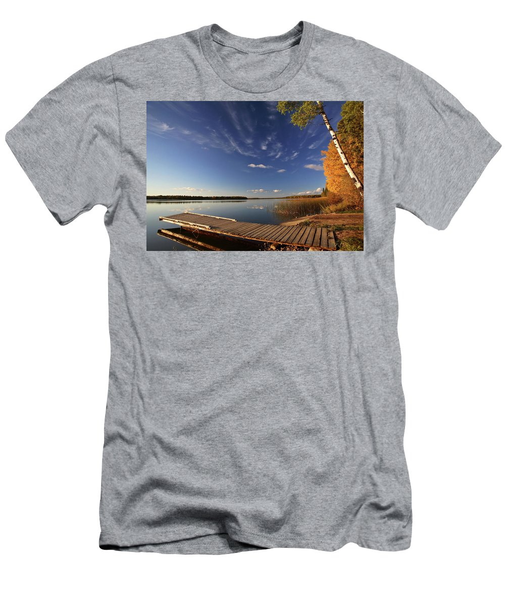 Fine Art Men's T-Shirt (Athletic Fit) featuring the digital art Boat Dock And Autumn Trees Along A Saskatchewan Lake by Mark Duffy