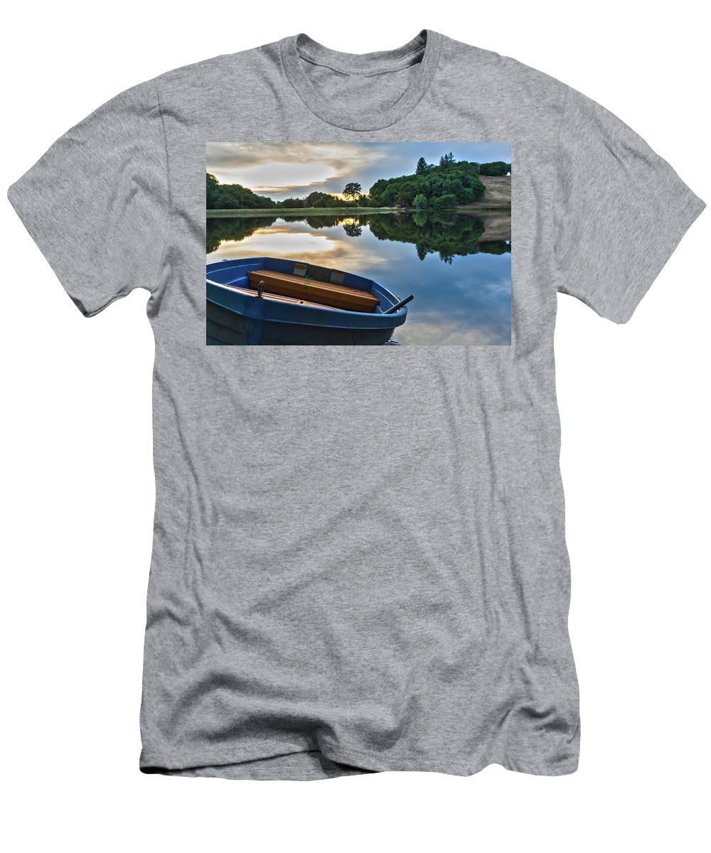 Landscape Men's T-Shirt (Athletic Fit) featuring the photograph Boat On The Shore Of A Lake by Gregory Dean
