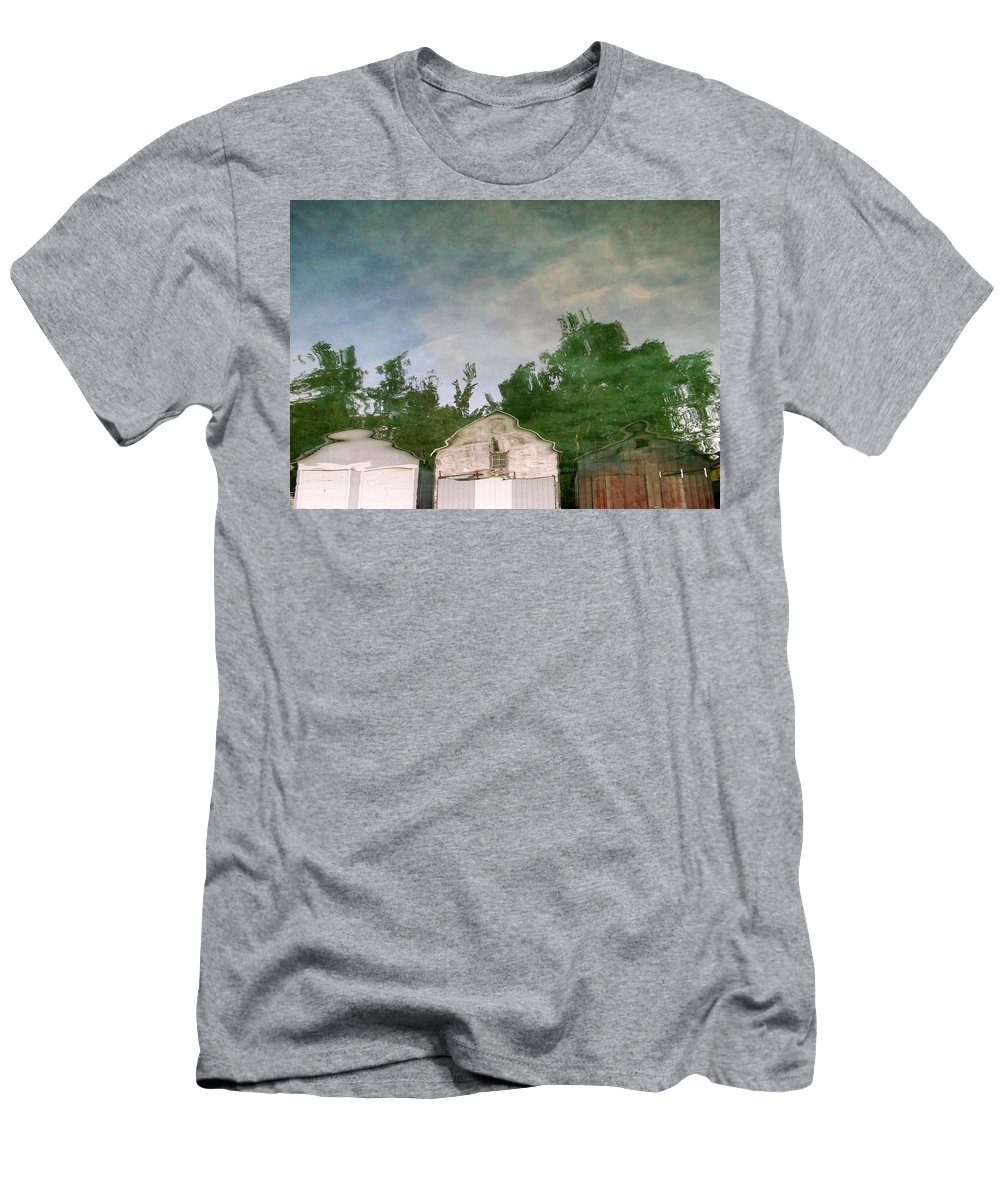 Boat House Men's T-Shirt (Athletic Fit) featuring the photograph Boathouses With Sky And Trees by Michelle Calkins