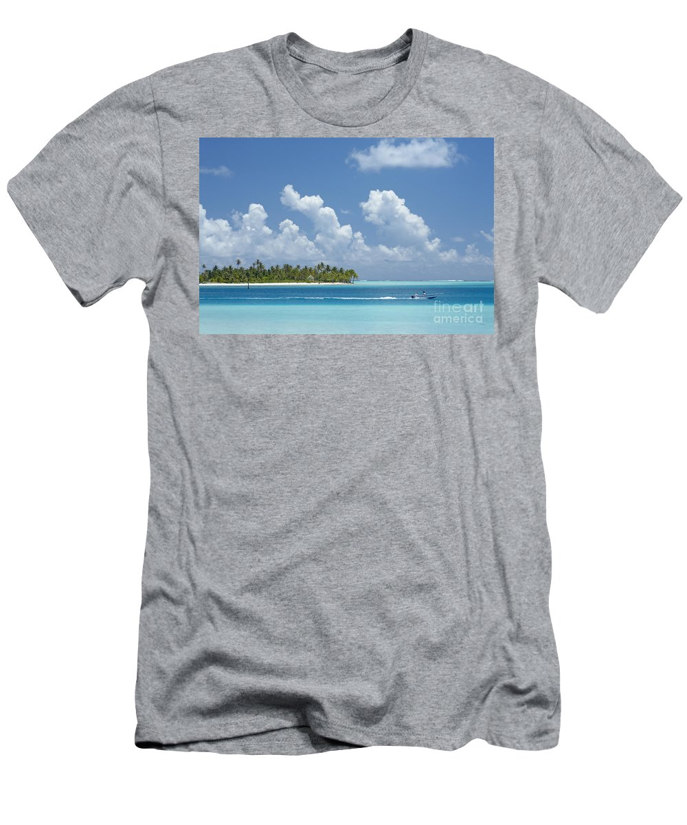 Alongside Men's T-Shirt (Athletic Fit) featuring the photograph Boating In A Tahitian Lagoon by Kyle Rothenborg - Printscapes